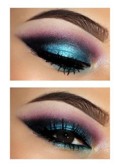 Teal ,black,and purple smokey eyes