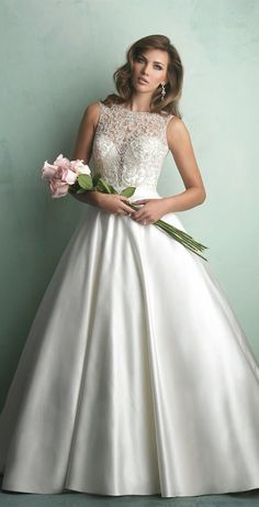 Allure Bridals deep sweetheart, illusion back ballgown; satin and beading; ivory; $1500-$3000; Style #: 9152