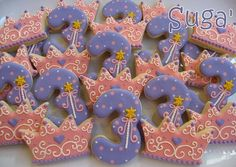 Number 3 cookies paired with a crown cookie for the perfect birthday party! Iced Cookies, Royal Icing Cookies, Cupcake Cookies, Unicorn Cookies, Sugar Cookies, Princess Tea Party, Disney Princess Birthday, Princess Birthday Cupcakes, Disney Princess Cookies