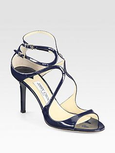 Jimmy Choo Ivette Patent Leather Sandals (in blush or navy)