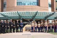 Marines and Sailors visit VA hospital.