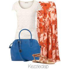 Orange floral maxi and blue tote bag