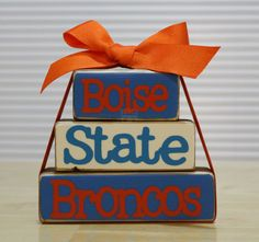 Boise State Broncos Stackable Wood Blocks Set by TheBenchT on Etsy, $10.00
