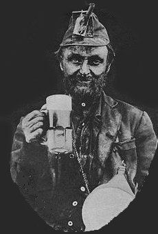 Kentucky Coal Miner with his reward beer at the end of his shift.