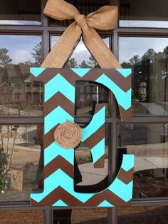 Door Hanger: Front door initial wood hanger by KnockinOnWood