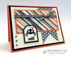 That handsome little spider from Tricky Treats stamp set. Designed by Mary Fish, Independent Stampin' Up! Demonstrator. Details, supply list and more card ideas on http://stampinpretty.com/2012/08/mojo-254-halloween-tricky-treats-card.html