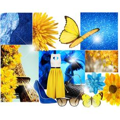 """Blue and yellow!"" by nessa-seme on Polyvore"