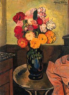 Vase de Fleurs sur une Table Ronde by Suzanne Valadon