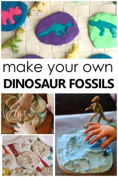 Learning about fossils goes hand in hand with all the fun dinosaur theme activities for preschool and kindergarten. In this collection of fun fossil activities for kids you'll find creative ways to make fossils, fun fossil activities for playful learning, Dinosaur Theme Preschool, Dinosaur Activities, Dinosaur Crafts, Preschool Themes, Preschool Science, Science For Kids, Kindergarten Activities, Science Activities, Dinosaur Fossils