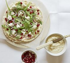 Flatbread pizzas. Whizz up your own homemade houmous and spread onto flatbreads then add toppings for a healthy pizza