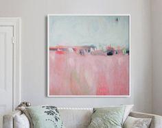 """Abstrakte Malerei-Druck, GICLÉE-Druck, rosa und weiß malen, drucken Landschaft """"Rosa Landschaft"""""""