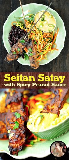 Seitan Satay with Spicy Peanut Sauce (Vegan) via @SunnysideHanne