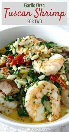 Garlic Orzo Tuscan Shrimp for Two - is coated in a light and creamy Parmesan cheese sauce filled with garlic sun dried tomatoes baby bella mushrooms onion and spinach! This has really great flavor and the majority of it (other than cooking the orzo) is Shrimp Dishes, Fish Dishes, Shrimp Recipes, Fish Recipes, Pasta Dishes, Main Dishes, Orzo Recipes, Kraft Recipes, Kabobs