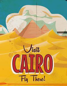 Cairo,Egypt vintage Travel poster Art Print