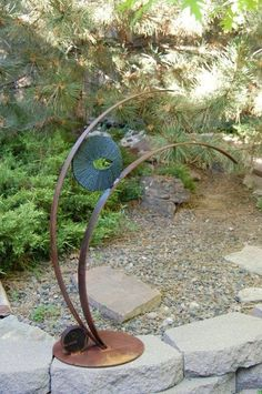 Freestanding Metal Sculpture, Rustic Modern Art, Recycled Metal ...