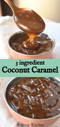 3 ingredient Coconut Caramel – A Stray Kitchen 3 ingredient Coconut Caramel is sooo easy to make and perfect for topping you healthy treats. It's naturally gluten free, dairy free, vegan, and paleo friendly – A Stray Kitchen Paleo Dessert, Coconut Dessert, Healthy Dessert Recipes, Easy Meals For Kids, Easy Snacks, Quick Easy Meals, It's Easy, Köstliche Desserts, Gluten Free Desserts