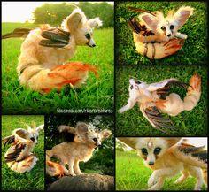 Flighted Fennec Fox - OOAKPosable Fantasy Creature by Heiditruth on deviantART