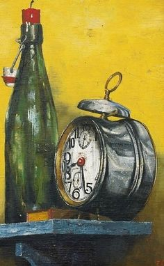 Franz Radziwill Still Life with Beer Bottle and Alarm Clock 1929