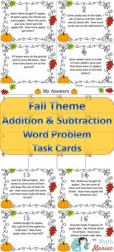 A fun way to give your kids extra practice with addition and subtraction word problems.  Includes all 12 problem types outlined in the Common Core.
