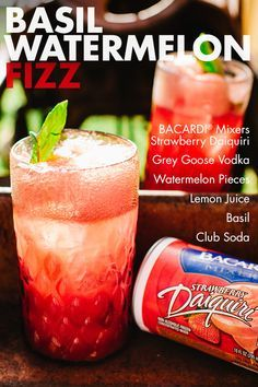 Enjoy the sweet taste of summer any time of year! The Basil Watermelon Fizz is a bright and delightful refreshment machine that's as tasty in the spring and fall as it is in the summer! Simply combine BACARDI®️️ Mixers Strawberry Daiquiri, vodka, watermelon, club soda, lemon juice and basil leaves for some fizzy fun that's fantastic no matter the occasion.