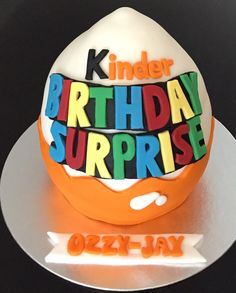 Kinder surprise themed chocolate cake!