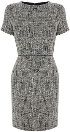Oasis Spring tweed shift dress, Multi-Coloured
