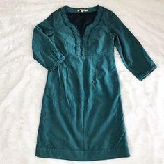 Women's Boden Blue Velvet 3/4 Sleeve Dress Ruffle Neckline Size 4 #Boden #EmpireWaist
