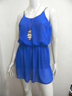wengpot New Amelia fully lined chiffon top (blue)/ tunic/