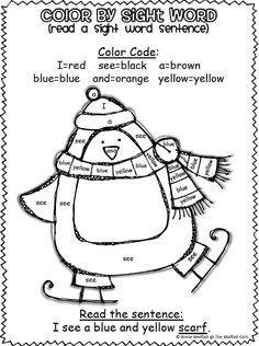 Color by Sight Words! A FUN way to learn sight words and read them in context! This super cute set is a winter theme!! $