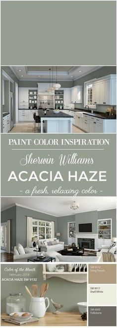 Williams Acacia Haze Paint Color Paint Color Inspiration: Sherwin Williams Acacia Green for walls.Paint Color Inspiration: Sherwin Williams Acacia Green for walls. Green Paint Colors, Kitchen Paint Colors, Paint Colors For Home, Living Room Paint Colors, Basement Wall Colors, Neutral Kitchen Colors, Office Wall Colors, Neutral Colors, Colors For Walls