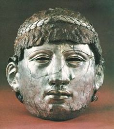 Thrace.Roman period Face mask-helmet from Philippopolis /modern Plovdiv, Silver and iron (mid-1st c. AD). Found in Bulgaria.