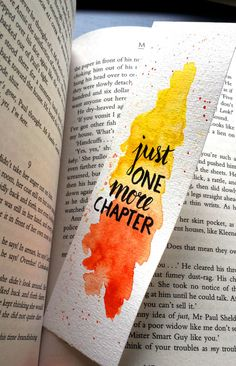 Watercolor Bookmark - Just one more chapter (orange-yellow) (by Keymarks) Watercolor Bookmarks, Watercolor And Ink, Watercolor Illustration, Simple Watercolor, Tattoo Watercolor, Watercolor Trees, Watercolor Animals, Watercolor Background, Watercolor Landscape