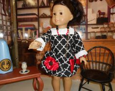 """What's Black and White and Red All Over?  Drop waist, 5 piece outfit for an 18"""" doll such as American Girl"""