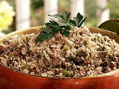 Paula Deen's Dirty Rice recipe.  I used Bob Evans Hot Zesty Sausage and Ground Turkey.  SO going to make this again.