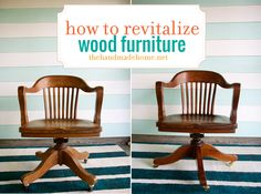 Spruce up your vintage wood furniture without having to refinish it with these simple steps. Via Handmade Home