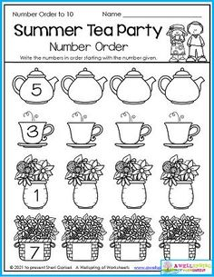 Kids get several opportunities to practice number order in this 30 page set of July and summer themed kindergarten counting worksheets. Please check them out! Counting Worksheets For Kindergarten, Summer Worksheets, Graphing Worksheets, Alphabet Tracing Worksheets, Upper And Lowercase Letters, Learn To Count, Math Resources, Business For Kids, Number