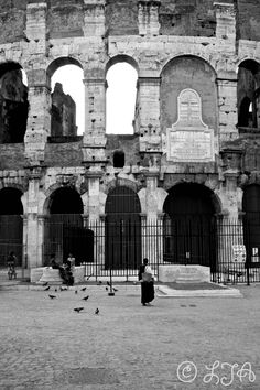 Feeding of the birds Colosseum Rome children by LJAPhotography, $30.00  Black and white