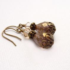 Brown Beaded Earrings for Fall