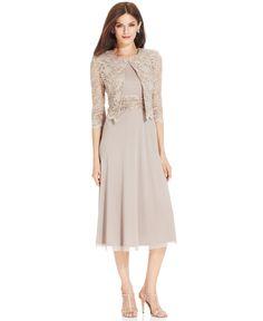 Jessica Howard Petite Metallic Lace Dress and Jacket