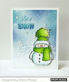 Hello, and Happy Holidays! As the banner reads, it's Christmas in July over at Penny Black , and I'm thrilled to be joining them . Christmas Cards 2017, Stamped Christmas Cards, Xmas Cards, Holiday Cards, Penny Black Cards, Penny Black Stamps, Watercolor Christmas Cards, Snowman Cards, Winter Cards