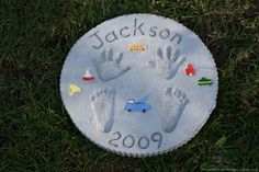 Making Stepping Stones with Baby Handprints & Footprints