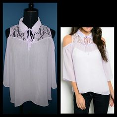 "⚡ FLASH SALE ⚡ Light Purple Cold-Shoulder Blouse Very beautiful light weight blouse. Cut-out shoulders. Lace trim neckline and top of the back. Ties at the neckline to create a keyhole style. Loose/baggy. NWT  Small: Length: 24"" Pit to pit: 18.5""  Medium: (Last one!) Length: 24.5"" Pit to pit: 21""  Large: (Last one!) Length: 24"" Pit to pit: 21.5""  -measured flat- Boutique Latiya Tops Blouses"
