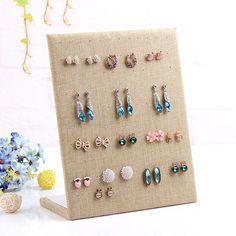 L model earring display shelf linen bangles organizer ear stud holder stand for jewelry rack dangle earrings frame display shelf
