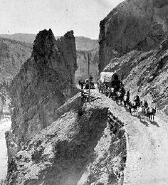 Fraser Canyon road in pioneer days. Constructed by the Royal Engineers. In the old days Camels carried freight to the gold fields. Fraser Canyon, Fraser River, Vancouver, Gold River, Canyon Road, Canadian History, O Canada, Mountain Man, Gold Rush