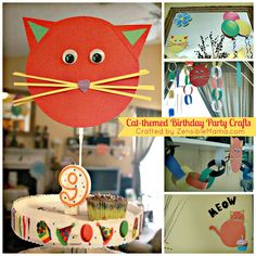 Zensible Mama: Busy Burning my Hands...Creatively...over Cat-Themed Birthday Party Crafts { With Tutorial }