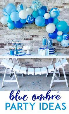 Blue Ombre Party Ideas by Lindi Haws of Love The Day - Decoration For Home Blue Birthday Parties, Birthday Party Celebration, 1st Boy Birthday, Birthday Ideas, Rustic Birthday, Quinceanera Planning, Quinceanera Party, Quinceanera Decorations, Coral Party