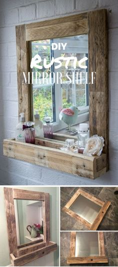 DIY Mirrors - DIY Rustic Mirror Shelf - Best Do It Yourself Mirror Projects and Cool Crafts Using Mirrors - Home Decor, Bedroom Decor and Bath Ideas - Step By Step Tutorials With Instructions diyjoy.c (Cool Crafts Shops) Diy Home Decor Rustic, Easy Home Decor, Cheap Home Decor, Rustic Crafts, Rustic Salon Decor, Wood Crafts, Rustic Office Decor, Bedroom Rustic, Rustic Nursery