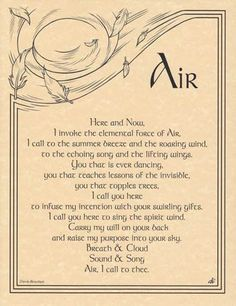 Seek the blessings of the elemental force of Air with the aid of the Air Invocation parchment poster. Written by the spiritual wordsmith Travis Bowman and incorporating the whimsical artwork of Eliot