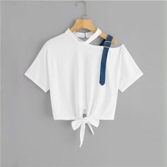 To find out about the Asymmetrical Neck Knot Hem Tee at SHEIN, part of our latest T-Shirts ready to shop online today! Girls Fashion Clothes, Teen Fashion Outfits, Mode Outfits, Fashion Dresses, Teen Clothing, Mens Fashion, Ladies Fashion, Modest Fashion, Korean Fashion