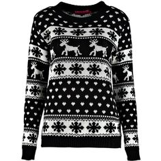 Boohoo Hollie Reindeers And Snowflake Christmas Jumper   Boohoo ($26) ❤ liked on Polyvore featuring tops, sweaters, chunky knit sweater, crochet jumper, macrame top, christmas sweaters and xmas jumpers